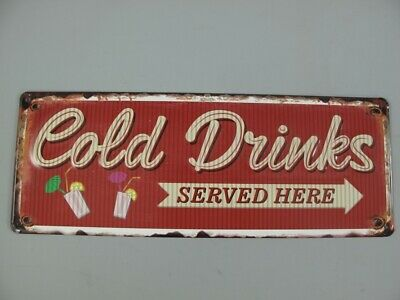 Metal Sign,Advertisement Sign Cold Drinks Served Here,Gastro Shield 5 7/8x15