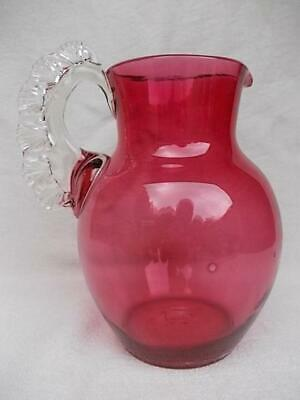 119 / Antique 19Th Century Hand Blown Cranberry Glass Water Jug Lovely Handle