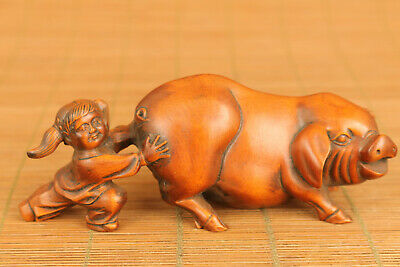 unique lovely chinese old boxwood hand carved favorite pig statue netsuke