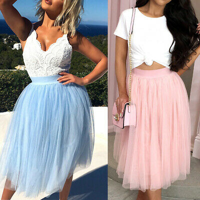 Women Adult Tutu Tulle Skirt Ladies High Waist Princess Petticoat Midi Dress