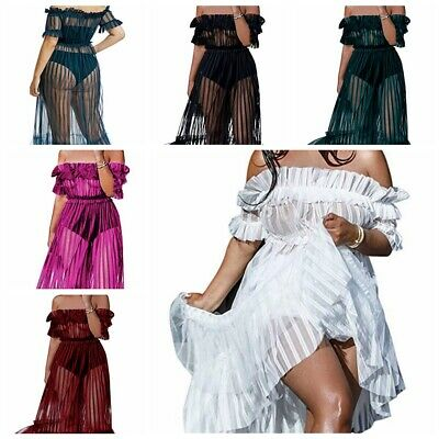 Women's Off Shoulder Mesh See Through Long Maxi Evening Party Cocktail Dress