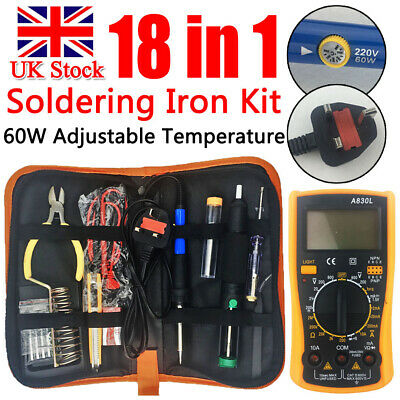 18-In-1 60W Soldering Iron Kit Electronics Welding Irons Tools Adjustable Temp
