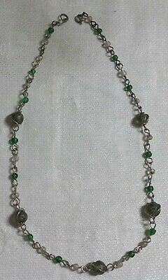 """Vintage Silvertone Metal Green Clear Gray Glass Bead 18.5"""" Necklace"""