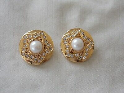 Gorgeous Pair Of Large Bright Goldtone Diamante & Faux Pearl Clip On Earrings