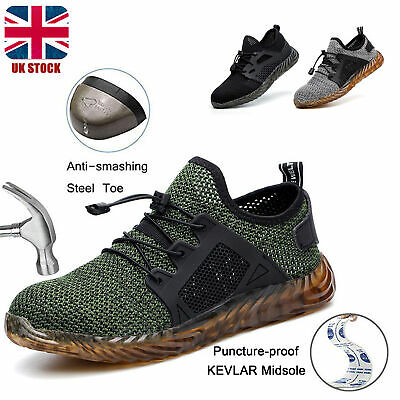 Mens Indestructible Ultra Steel Toe Safety Shoes Autoshrink Lace Boots Traniers