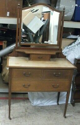 Antique EDWARDIAN Solid Wood Traditional Dressing Table With Mirror  - G25
