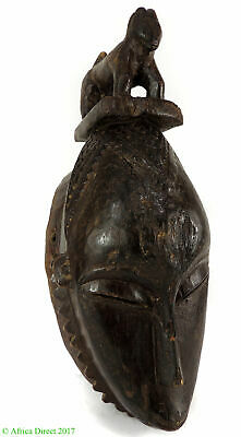 Yaure Portrait Mask with Animal on Top Cote d'Ivoire African Art