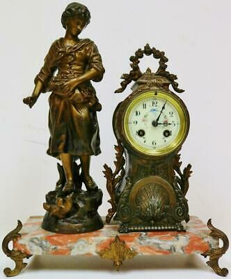 Antique French 8 Day Bronzed Metal & Red Marble Large Lady Figurine Mantle Clock