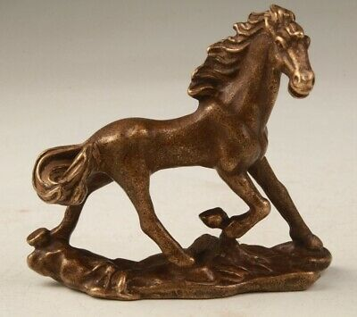 Rare Chinese Bronze Hand Carving Horse Figurine Statue Old Collection