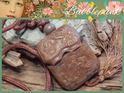 Vintage Carved Chinese Brown Soapstone Jade Snuff Bottle Pendant Necklace