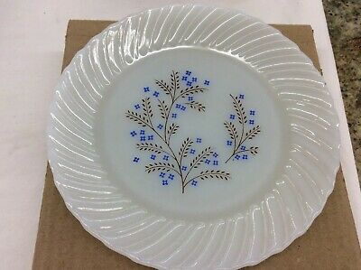 Crisa Termocrisa Milk Glass Blue Floral Mexican Dinner Plate Set Of 4