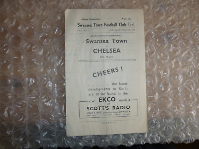 Swansea Town Reserves v Chelsea Reserves 7th June 1947 Combination Semi-Final