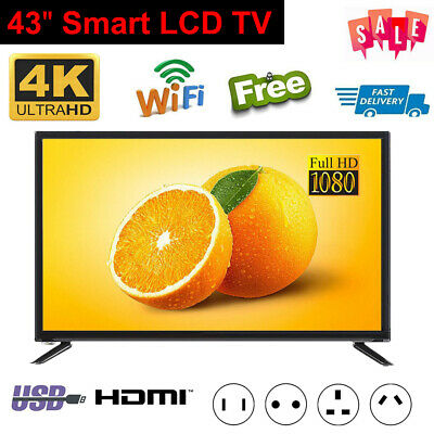 "43"" 4K 1080P HD Smart LED LCD TV Wifi Network Television HDTV Player Freeview UK"