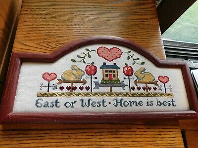 Bunny and Hearts Cross Stitch Panel COMPLETED Handmade East West Home Best