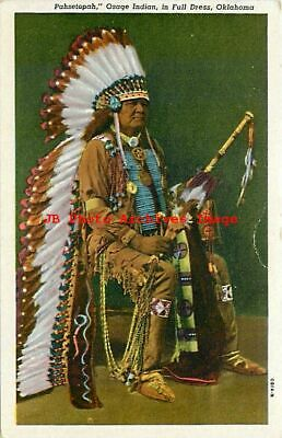8 Linen Postcards, Native American Indians, Osage, Cherokee, Seminole