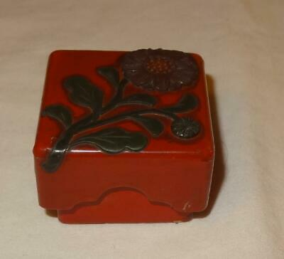 Unusual Small Antique Japanese Raised Lacquer Stamo or Seal Box