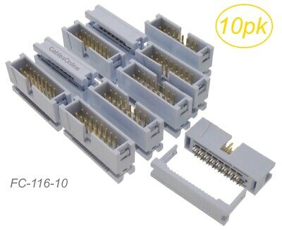 10-Pack, 16-Pin Male IDC Flat Ribbon Cable Box Header 2.54mm Pitch Connectors