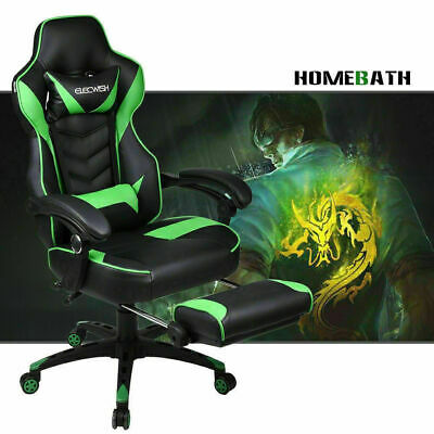Video Computer Racing Gaming Chair w/ Footrest Office Recline Leather Back Seat