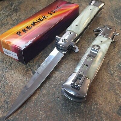 """9"""" Italian Stiletto Tactical Spring Assisted Open Pocket Knife White 300342-WH f"""