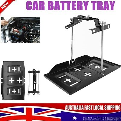 Universal Car Battery Tray Adjustable Hold Down Clamp Bracket Kit Cycle Metal AU