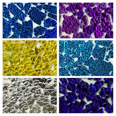 Mirror Safety/Tempered Broken Glass Mosaic Tiles Crafting Pieces 150g/0.33lb