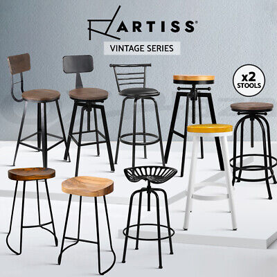 Artiss Kitchen Bar Stools Vintage Bar Stool Chairs Industrial Wooden Metal Retro