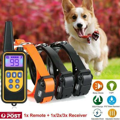 Electric Remote Dog Training Collar Anti Bark 800m Range Auto mode + 1 Reveiver