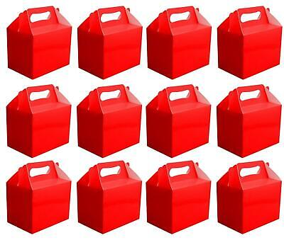 Red Plain Colour Party Food Boxes Kids Birthday Lunch Meal Loot Bags Favours