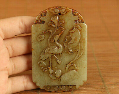 antique chinese hetian jade carved qing dynasty crane  pendant collectable