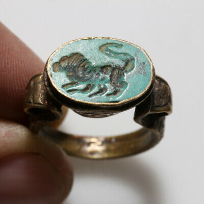 Post Medieval - Intact Near East Bronze Seal Ring With Intaglio Stone