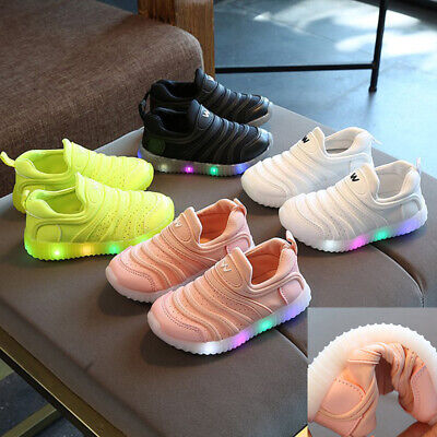Kids Toddler Boys Girls Trainers Shoes Children Baby LED LIGHT UP Casual Sneaker