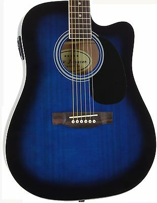 Full Size Thinline Acoustic Electric Guitar with Built In Pickup Blue Amazing