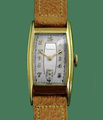 Vintage 30's HAMPDEN  14k Yellow  Gold Art Deco Wrist Watch Swiss Made for US Co
