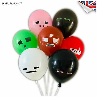 Pixel Birthday Party Balloons (14 Pack) - fillers, favours, supplies, Loot Mine