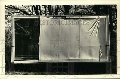 1988 Press Photo Canvas hides billboard on Route 20 in Schodack, New York