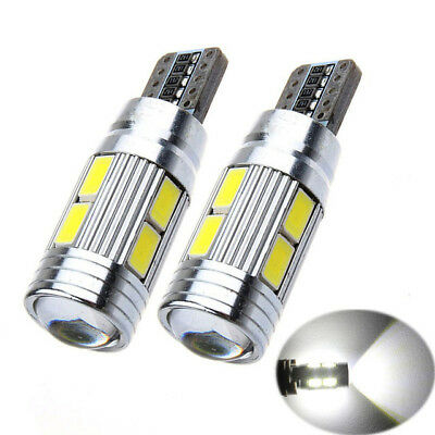 2x 501 194 6000K W5W 5630 T10 LED 10-SMD Car Canbus Error Free Wedge Light Bulbs
