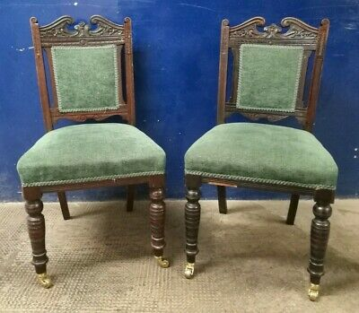 Lovely ~Victorian ~2 x Antique Dining Chairs~ Green Upholstery ~ Brass Castors