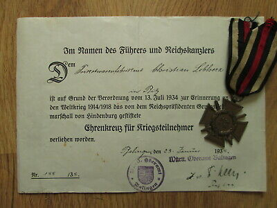 Original before WW2 German soldier WW1 medal & Award certificate  Wehrmacht Army