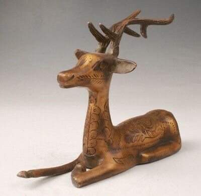 Rare Chinese Bronze Hand-Carved Antelope Statue Old Collection Decoration