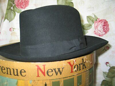 Antique 1940s Fedora Hat Classic Vintage Black Wool-John Howarth-London-Paris
