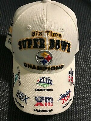 258a78c3108105 PITTSBURGH STEELERS 6X Time Super Bowl Champions Hat Cap Rare White Version