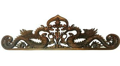 Balinese Twin Dragon Naga Panel Wall Art Plaque Hand Carved Wood Asian Decor
