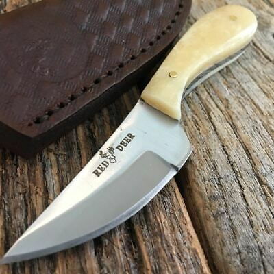 White Bone Handle Fixed Blade Outdoor Hunting Bowie Skinner Knife Straight S