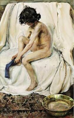 LMOP1053 the portrait boy in socks handmade painted oil painting art on canvas