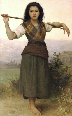 LMOP1055 A young cowherd girl portrait hand painted oil painting art on canvas