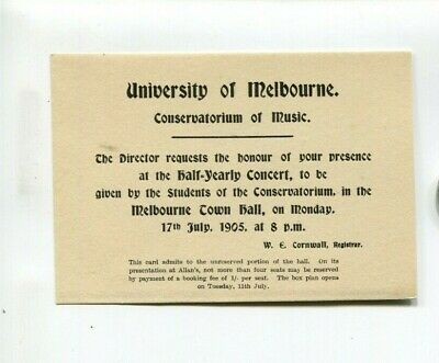 University of Melbourne 1905 Ticket Conservatorium of Music