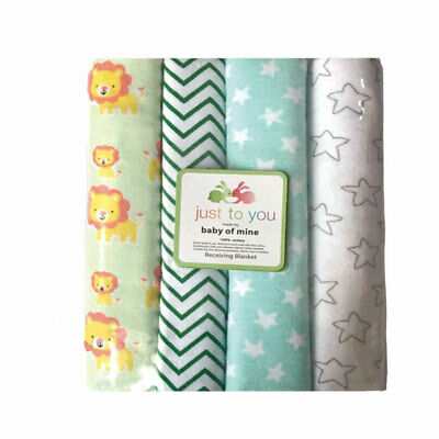 4Pcs Cotton Flannel Unisex Colorful Cartoon Receiving Baby Blanket Soft Swaddle