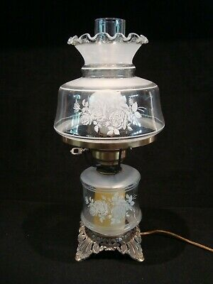 Excellent Vintage 3 Way Table Parlor Lamp Clear Glass Frosted Rose Flowers GWTW