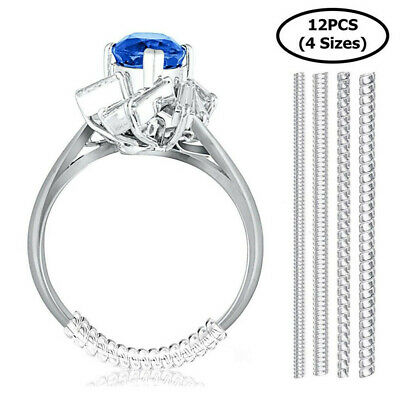 12PCS Ring Size Adjuster Invisible Clear Ring Sizer Jewelry Fit Reducer Guard US