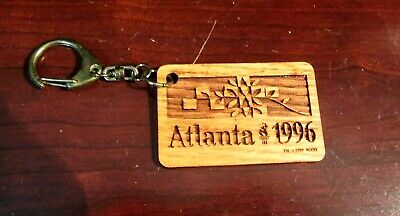 Vintage Collectible Wooden Keychain Atlanta 1996 Olympics Nice Design